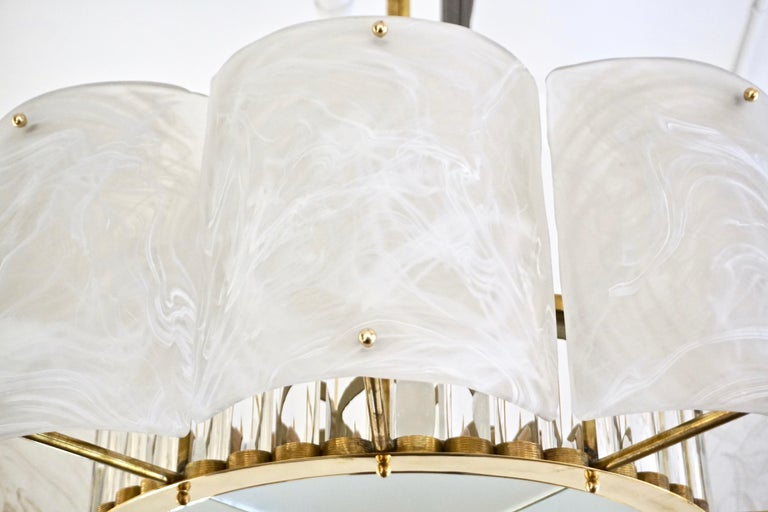 Hand-Crafted Bespoke Italian Alabaster White Murano Glass Brass Round Chandelier / Flushmount For Sale