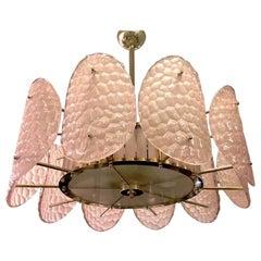 Bespoke Italian Crystal Rose Pink Murano Glass Brass Chandelier / Flushmount