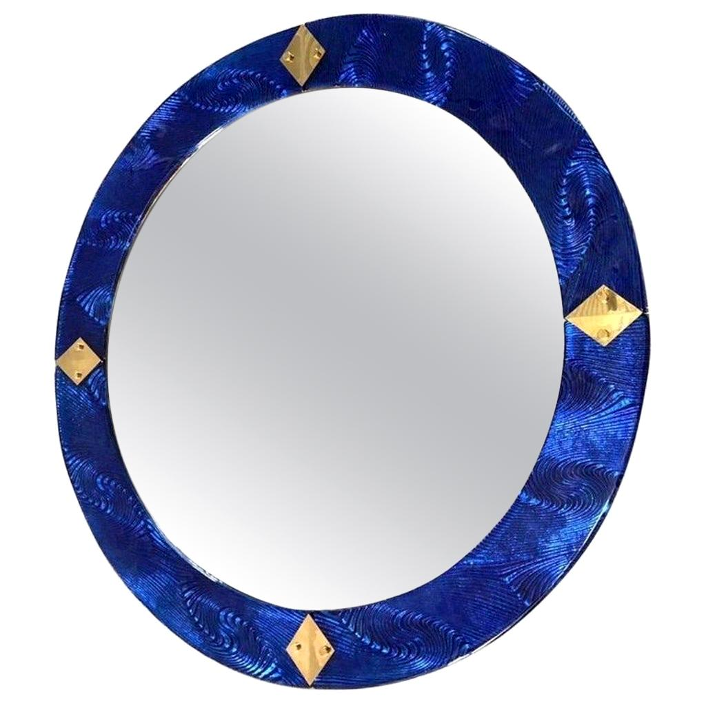 Bespoke Italian Custom Brass and Textured Cobalt Blue Murano Glass Round Mirror