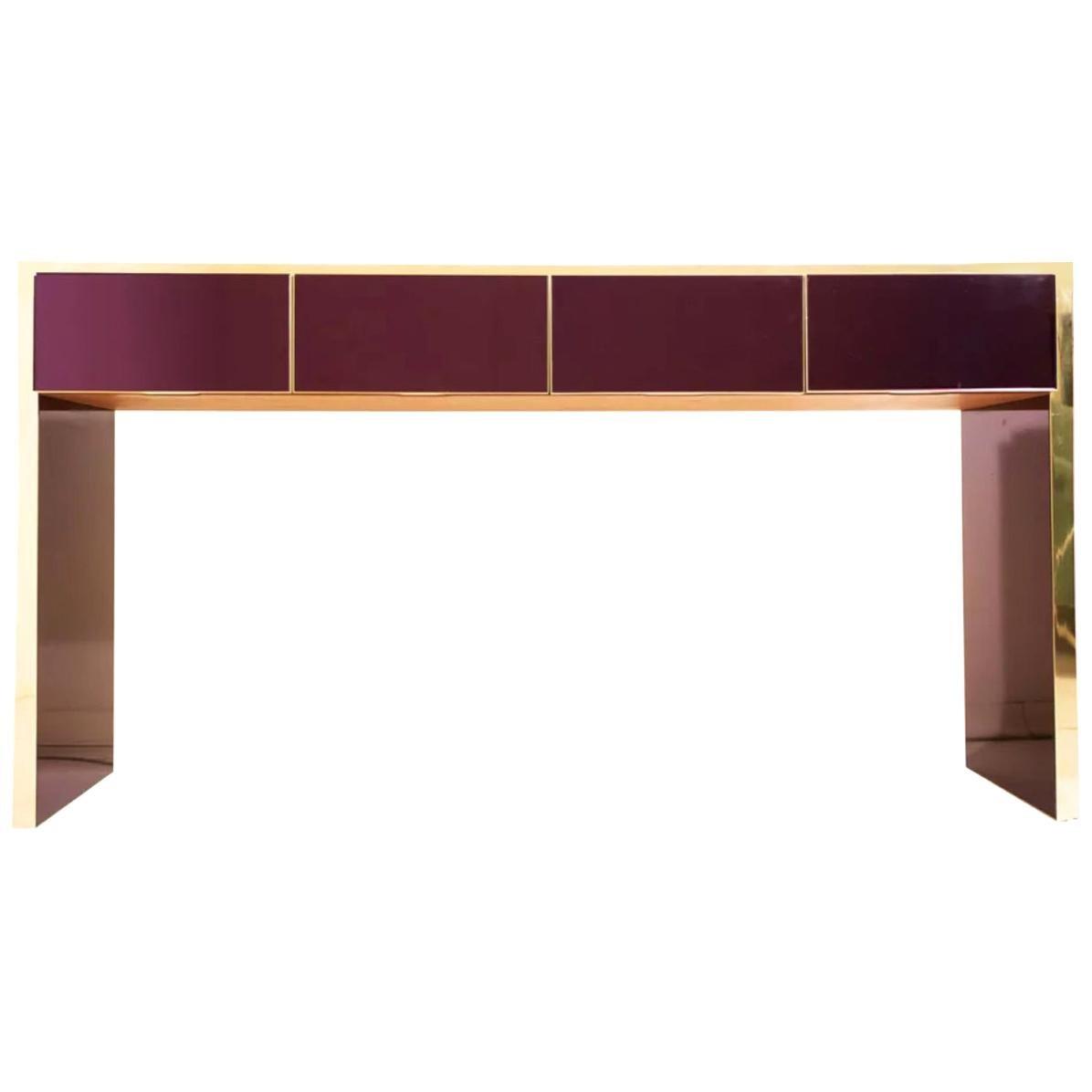 Bespoke Italian Design 4 Drawers Burgundy & Brass Center Console Table/Sideboard