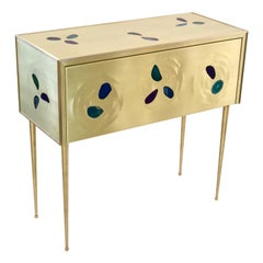 Bespoke Italian Design One-Drawer Brass Console with Blue Green Purple Agate