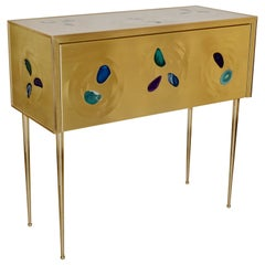 Bespoke Italian Design One Drawer Brass Console with Blue Green Purple Agate