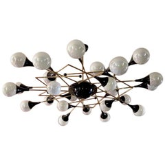 Bespoke Italian Geometric White Glass Black Lacquered Brass 24-Light Flushmount