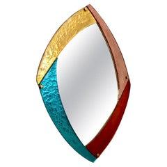 Bespoke Italian Memphis Design Gold Pink Turquoise Burgundy Murano Glass Mirror