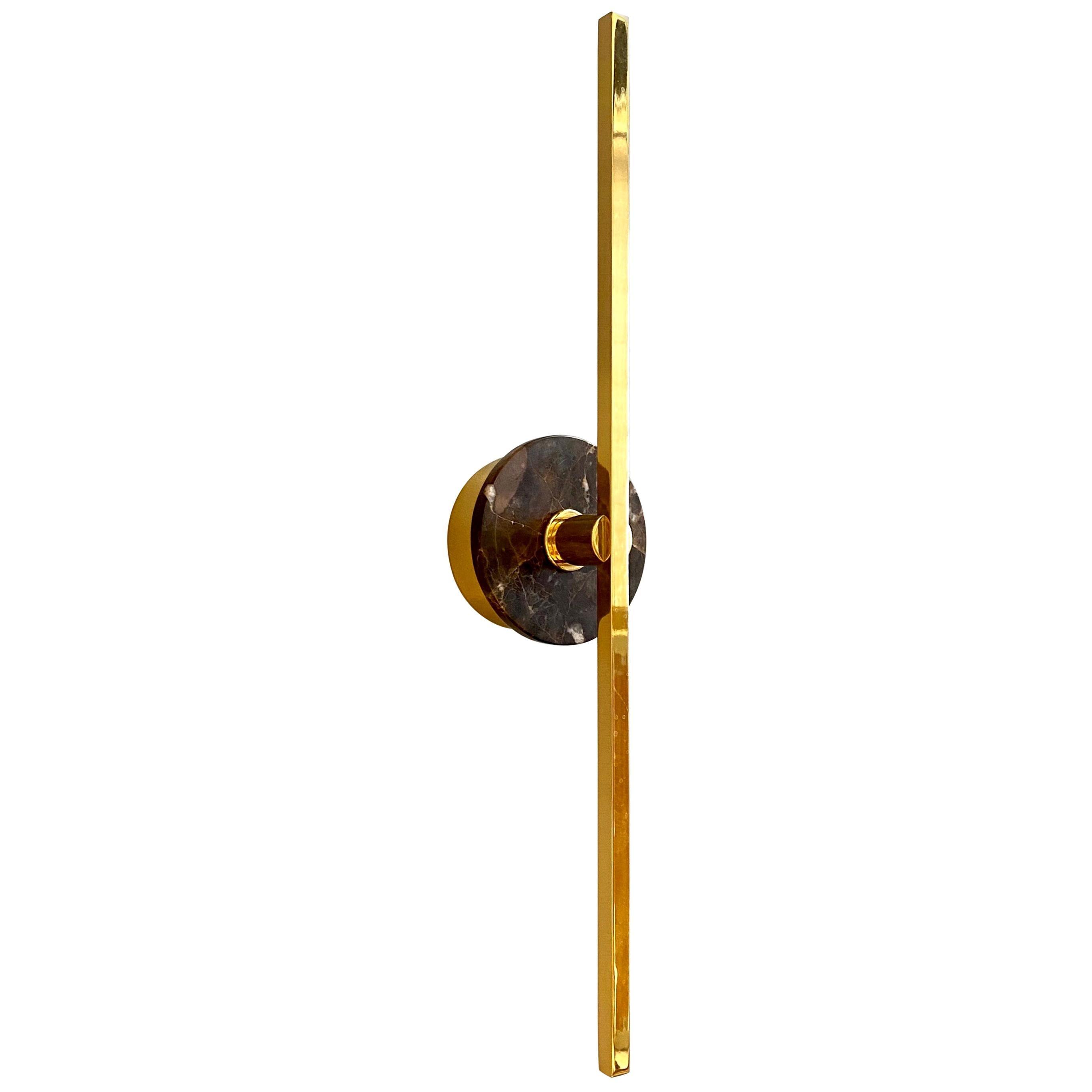 Bespoke Italian Minimalist Brown Marble Satin Brass Vertical / Horizontal Sconce