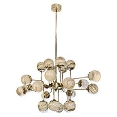 Bespoke Italian Modern 24-Light Alabaster Murano Glass Custom Nickel Chandelier