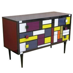 Bespoke Italian Mondrian Style Geometric Multi-Color Glass Credenza / Sideboard