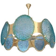 Bespoke Italian Organic Aquamarine Murano Glass Round Brass Chandelier Pendant