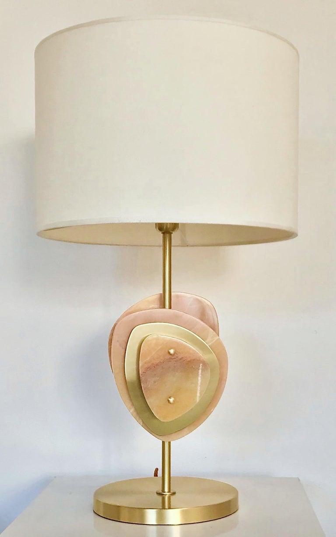 Bespoke Italian Organic Modern Amber Onyx Satin Brass Satellite Table Lamp For Sale 3