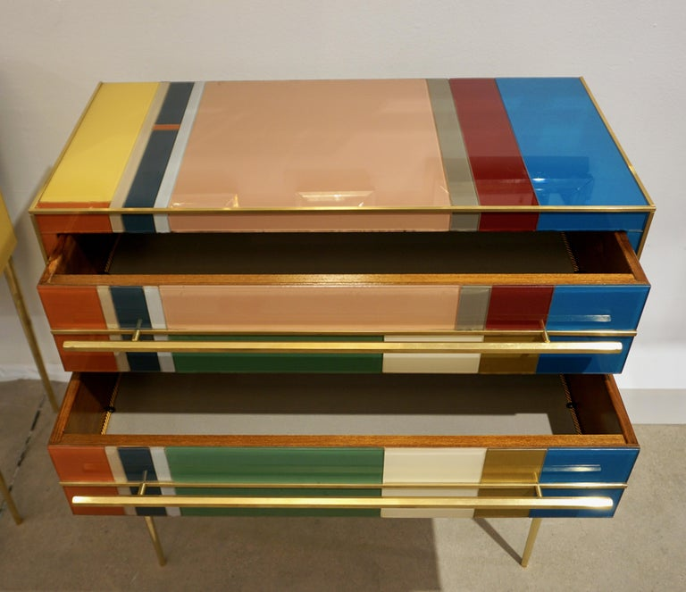 Bespoke Italian Pair of Mondrian Style Blue Green Yellow Chests / End Tables For Sale 4