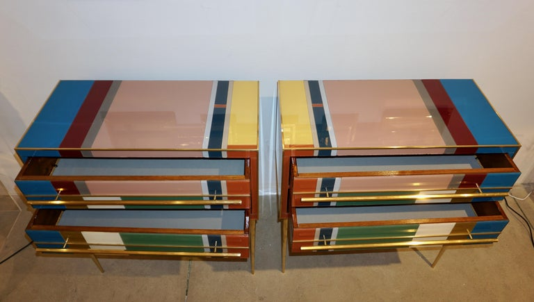 Post-Modern Bespoke Italian Pair of Mondrian Style Blue Green Yellow Chests / End Tables For Sale
