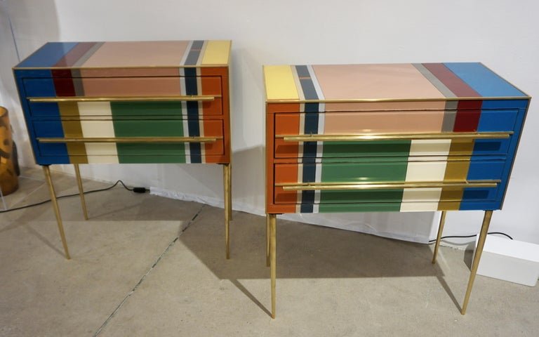 Hand-Crafted Bespoke Italian Pair of Mondrian Style Blue Green Yellow Chests / End Tables For Sale