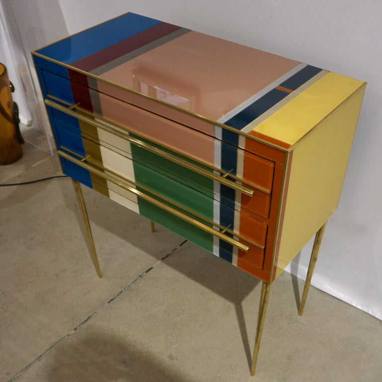 Bespoke Italian Pair of Mondrian Style Blue Green Yellow Chests / End Tables In New Condition For Sale In New York, NY