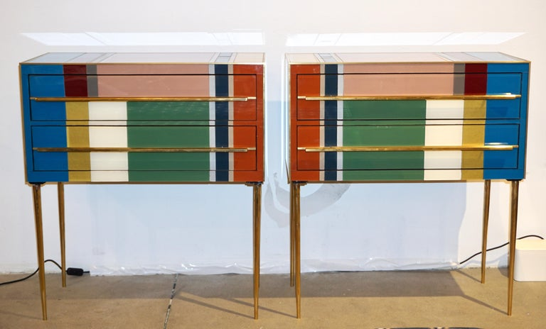 2010s Bespoke Italian Pair of Mondrian Style Blue Green Yellow Chests / End Tables For Sale
