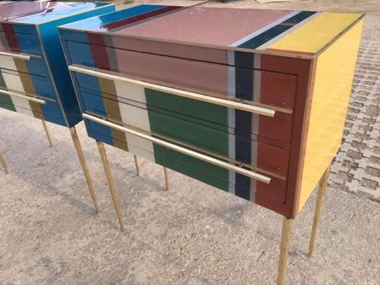 Bespoke Italian Pair of Mondrian Style Blue Green Yellow Chests / End Tables For Sale 1