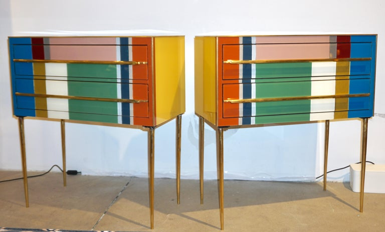Bespoke Italian Pair of Mondrian Style Blue Green Yellow Chests / End Tables For Sale 2