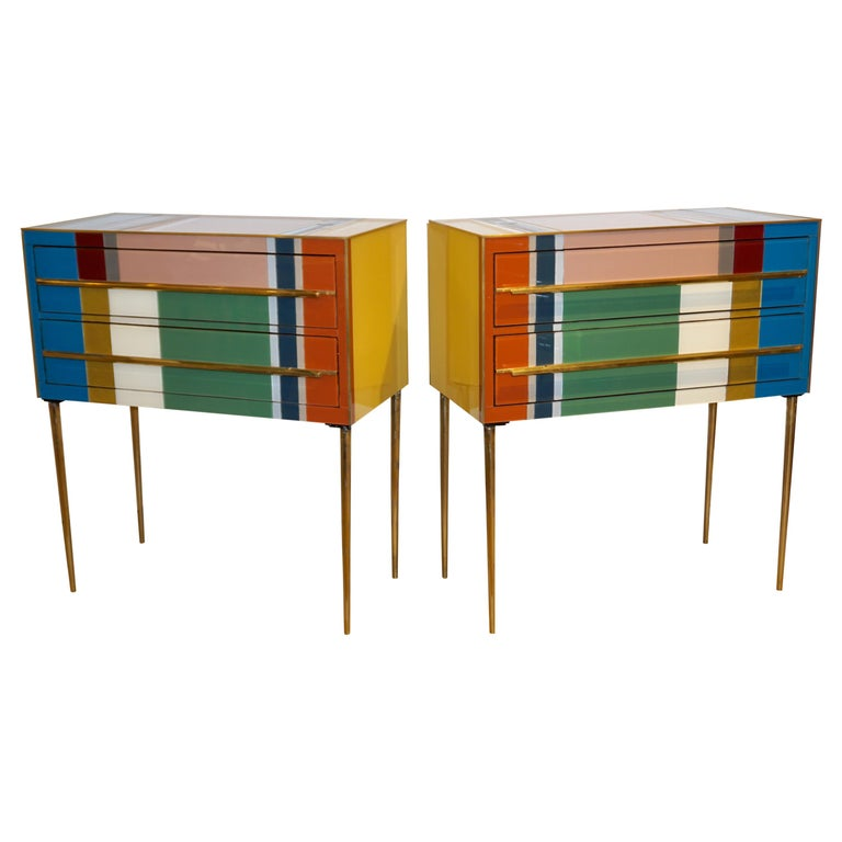 Bespoke Italian Pair of Mondrian Style Blue Green Yellow Chests / End Tables For Sale