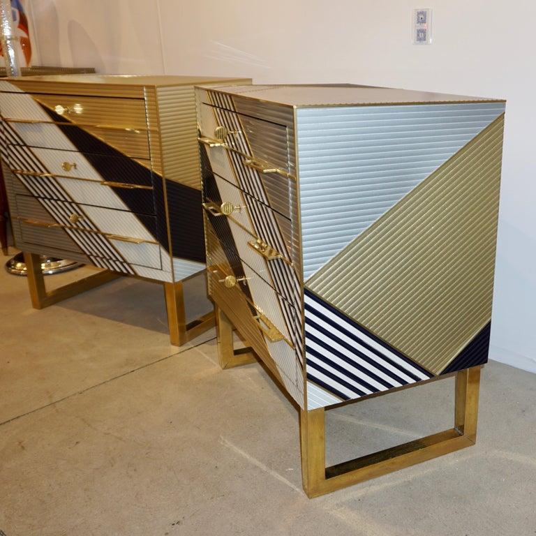 Bespoke Italian Postmodern Black Gold Gray Chests or Nightstands on Brass Legs For Sale 4
