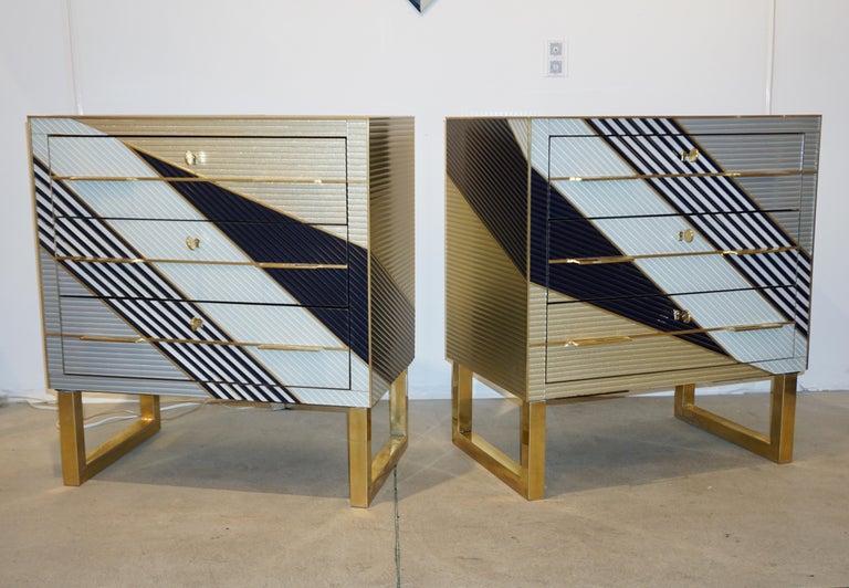 Bespoke Italian Postmodern Black Gold Gray Chests or Nightstands on Brass Legs For Sale 6