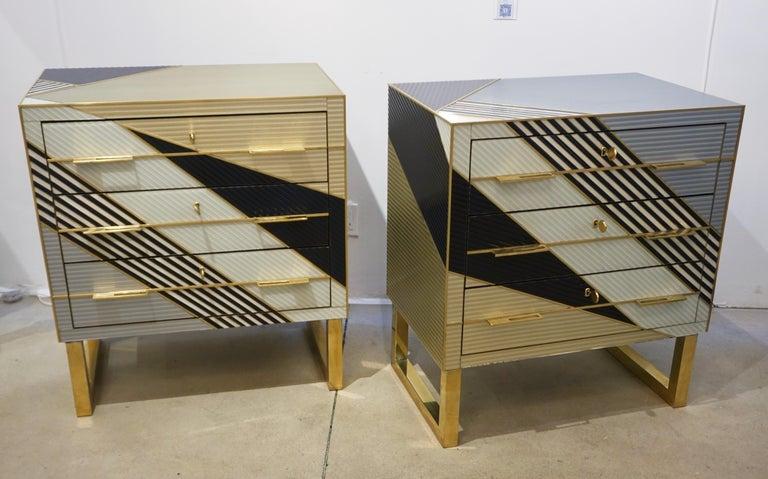 Modern Bespoke Italian Postmodern Black Gold Gray Chests or Nightstands on Brass Legs For Sale