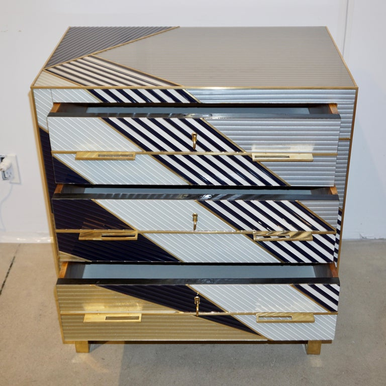Hand-Crafted Bespoke Italian Postmodern Black Gold Gray Chests or Nightstands on Brass Legs For Sale