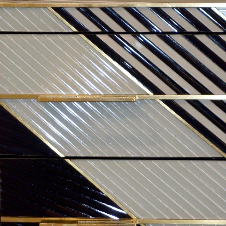 Bespoke Italian Postmodern Black Gold Gray Chests or Nightstands on Brass Legs For Sale 2