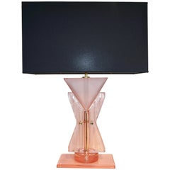 Bespoke Italian Post Modern Rose Pink Murano Glass Geometric Couture Table Lamp