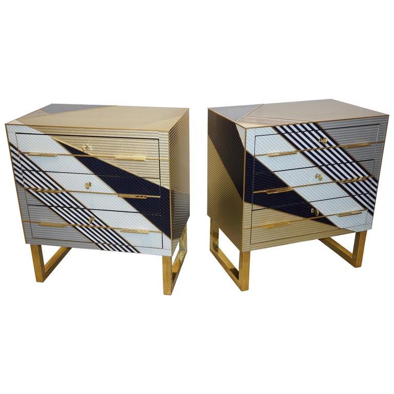 Bespoke Italian Postmodern Black Gold Gray Chests or Nightstands on Brass Legs For Sale
