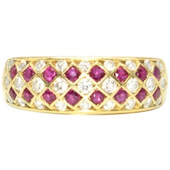 Bespoke Italian Ruby and Diamond Harlequin 18 Karat Gold Ring