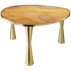 Bespoke Italian Satellite Honey Gold Onyx Oval Dining Table on Satin Brass Legs