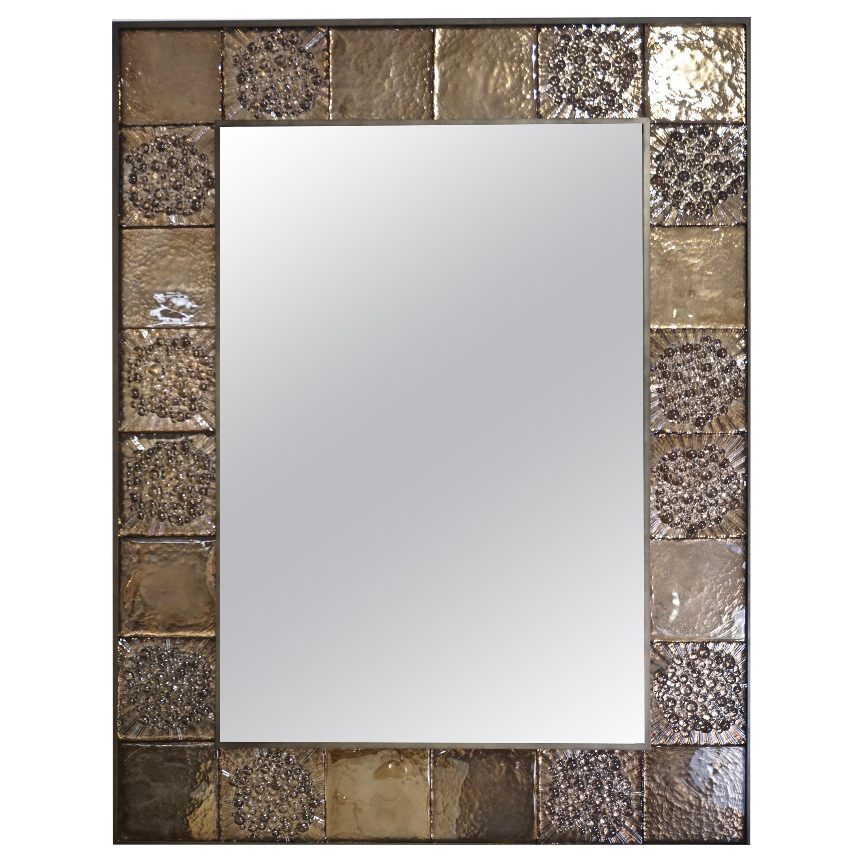 Bespoke Italian Smoked Amber Mirrored Murano Glass Geometric Bronze Tile Mirror