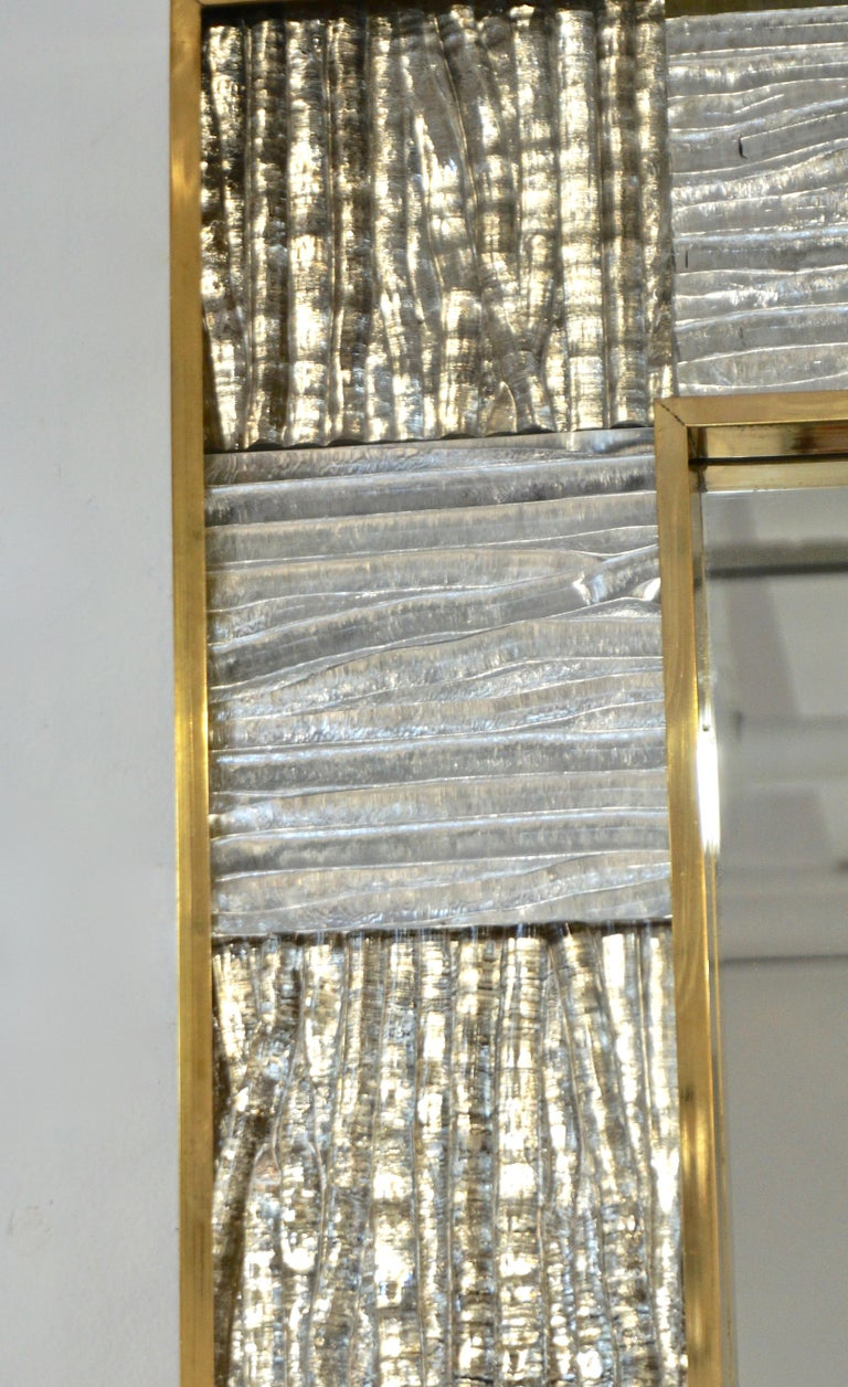 Hand-Crafted Bespoke Italian Square Silver Leaf Smoked Crystal Murano Glass Brass Tile Mirror For Sale