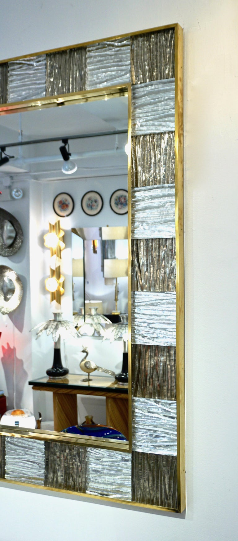 Bespoke Italian Square Silver Leaf Smoked Crystal Murano Glass Brass Tile Mirror In New Condition For Sale In New York, NY