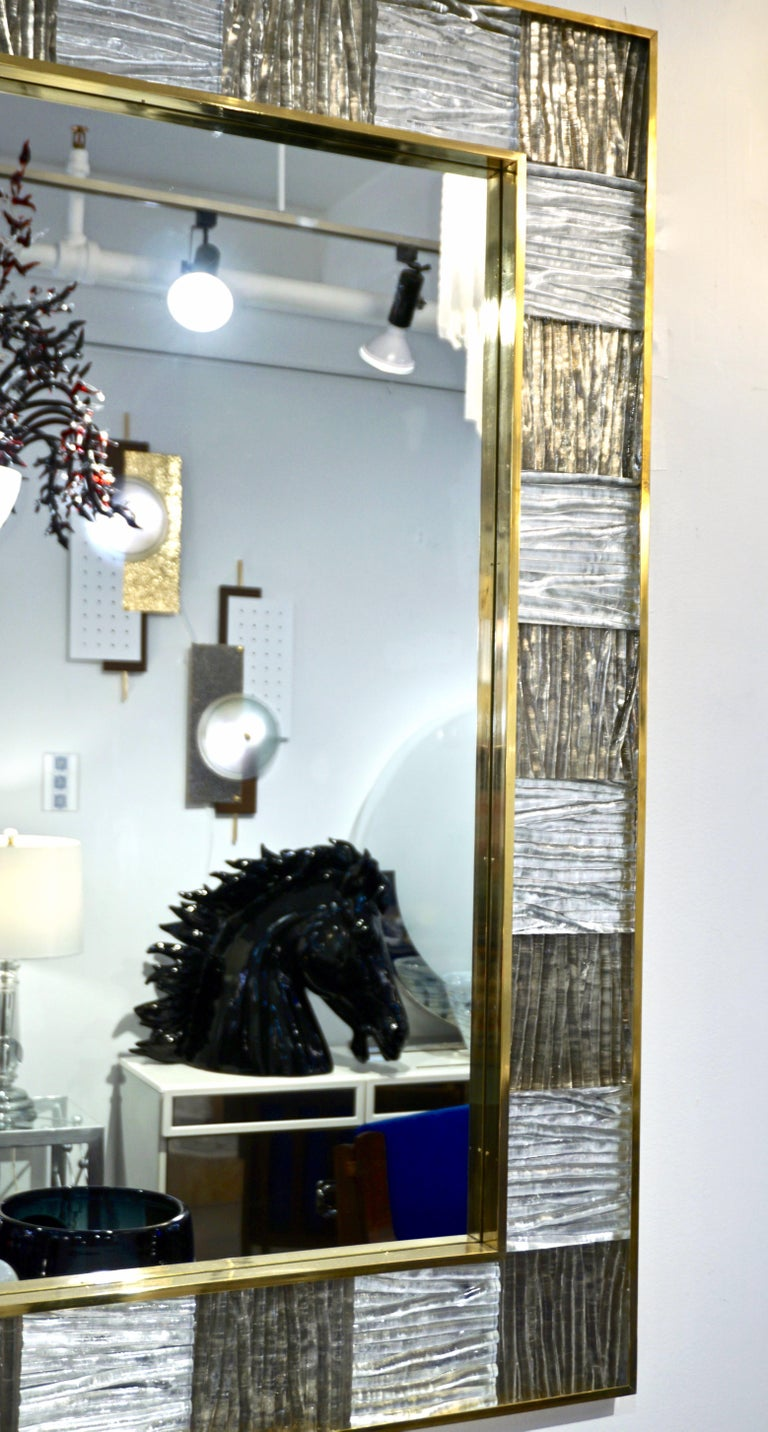 Contemporary Bespoke Italian Square Silver Leaf Smoked Crystal Murano Glass Brass Tile Mirror For Sale
