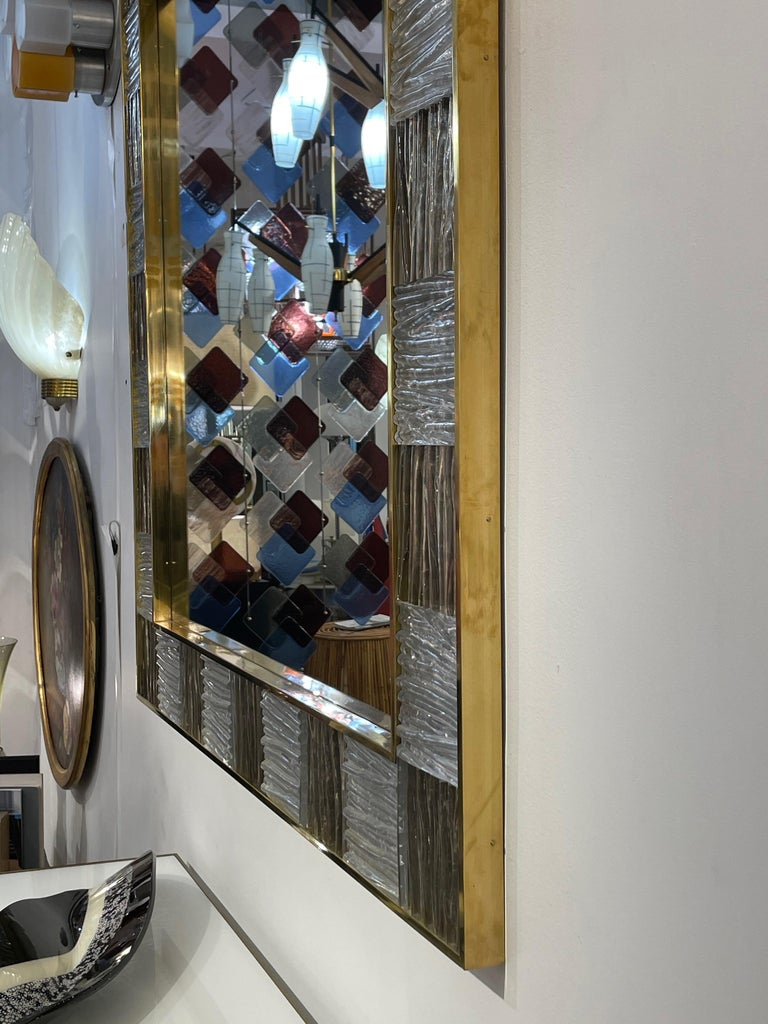 Bespoke Italian Square Silver Leaf Smoked Crystal Murano Glass Brass Tile Mirror For Sale 3