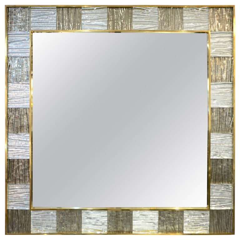 Bespoke Italian Square Silver Leaf Smoked Crystal Murano Glass Brass Tile Mirror For Sale