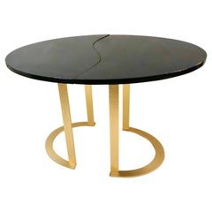 Bespoke Italian Textured Brass Black Granite Oval Side Table Doubles as a Pair