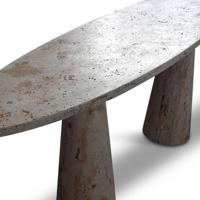 Mid-Century Modern Bespoke Italian Travertine Console Table For Sale