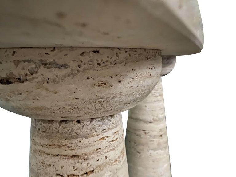 Contemporary Bespoke Italian Travertine Console Table For Sale