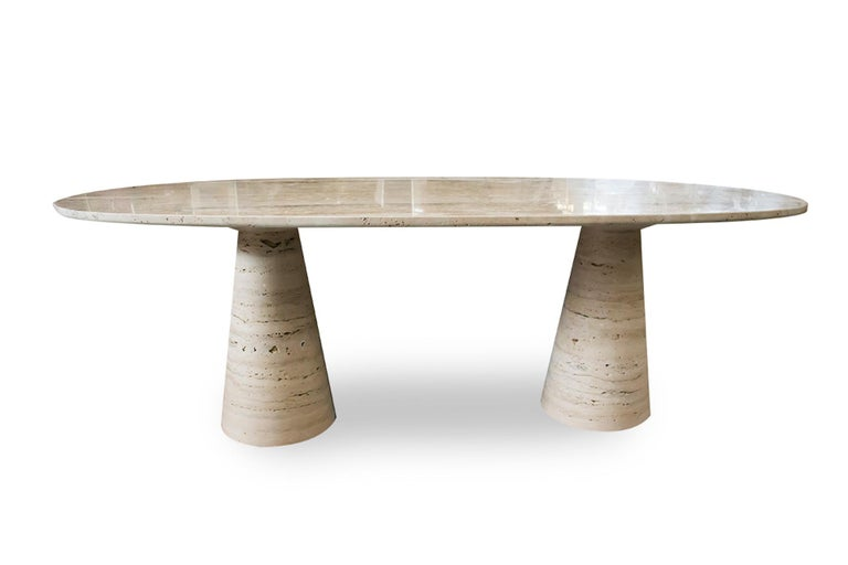 Contemporary Bespoke Italian Travertine Oval Dining Table For Sale