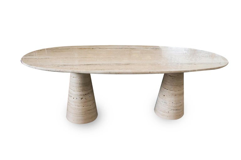 Bespoke Italian Travertine Oval Dining Table For Sale 1