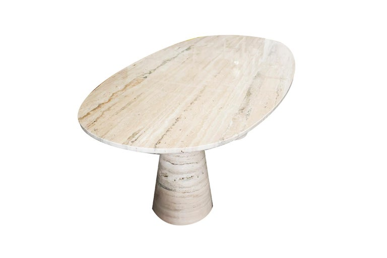 Bespoke Italian Travertine Oval Dining Table For Sale 2
