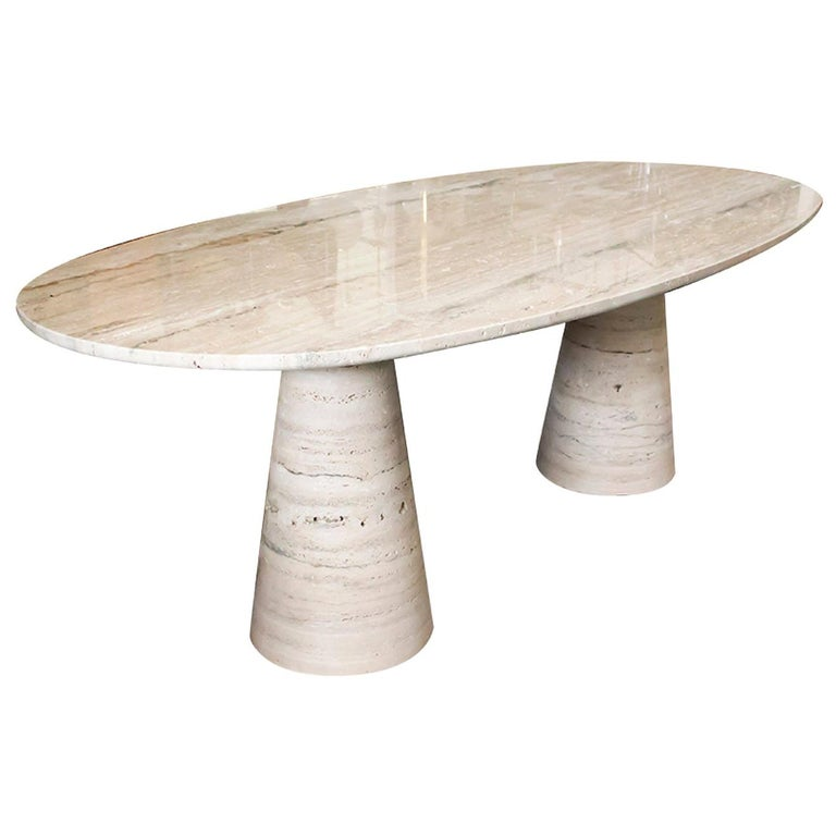 Bespoke Italian Travertine Oval Dining Table For Sale