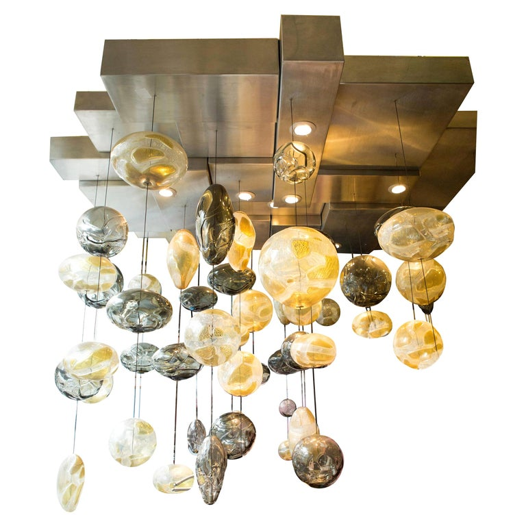 Bespoke Ken Gangbar 20th Century Glass Chandelier For Sale