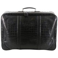 Bespoke large black matte crocodile leather suitcase