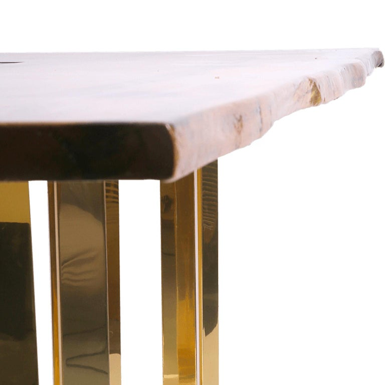 Modern Bespoke Large Oak Office Table with Polished Brass Legs and Socket Block For Sale