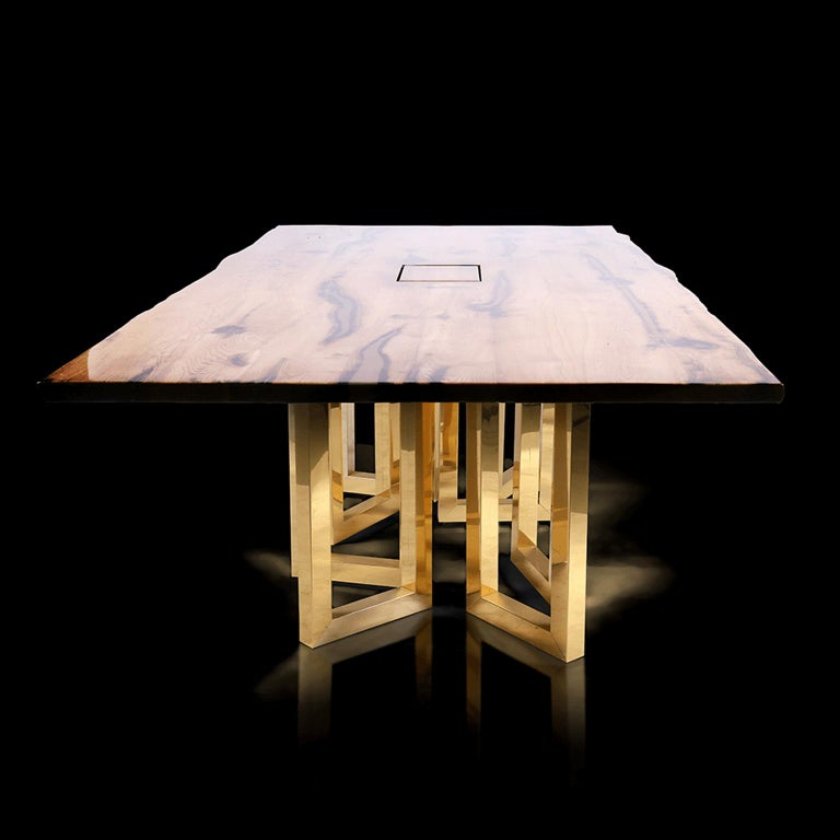 Bespoke Large Oak Office Table with Polished Brass Legs and Socket Block In New Condition For Sale In Riga, LV
