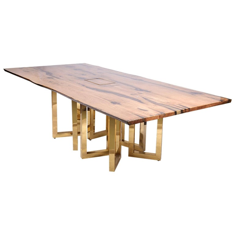 Bespoke Large Oak Office Table with Polished Brass Legs and Socket Block For Sale
