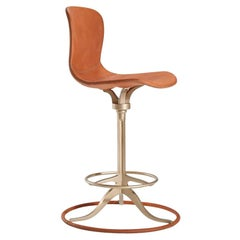 Bespoke Leather and Brass Counter Swivel Chair, Ring Footrest, by P. Tendercool