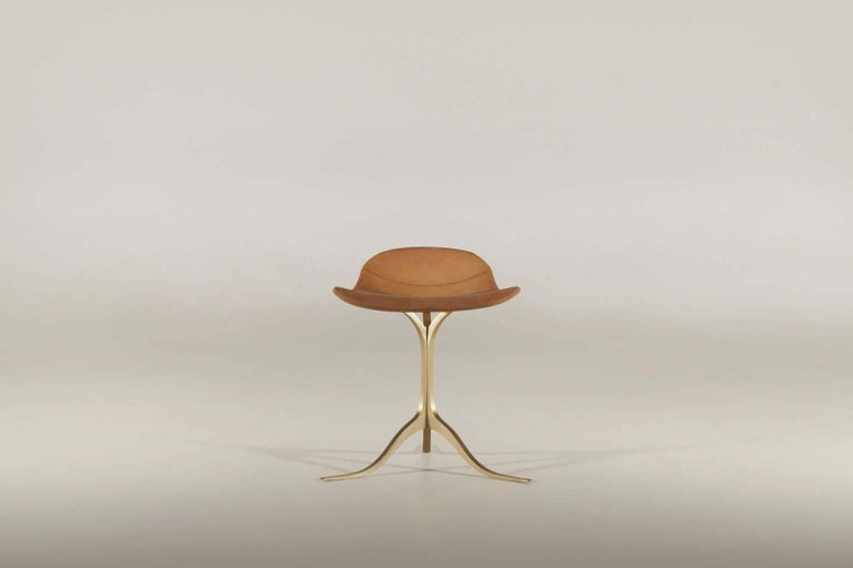 Model: PT41 BS1 Seat: Marron Glace Leather Seat color: Customized Base: Sand cast brass Base finish: Brushed Golden sand Dimensions: 52 x 50 x 56 cm (Seat Height: 46 cm) (W x D x H) 21 x 19.6 x 22 inch (Seat Height: 18.1 inch)  P. Tendercool